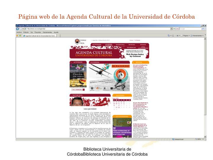 Página web de la Agenda Cultural de la Universidad de Córdoba