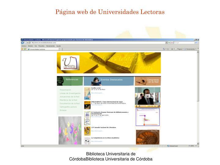 Página web de Universidades Lectoras