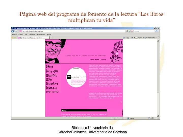 """Página web del programa de fomento de la lectura """"Los libros multiplican tu vida"""""""