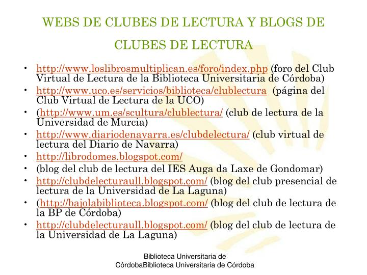 WEBS DE CLUBES DE LECTURA Y BLOGS DE CLUBES DE LECTURA