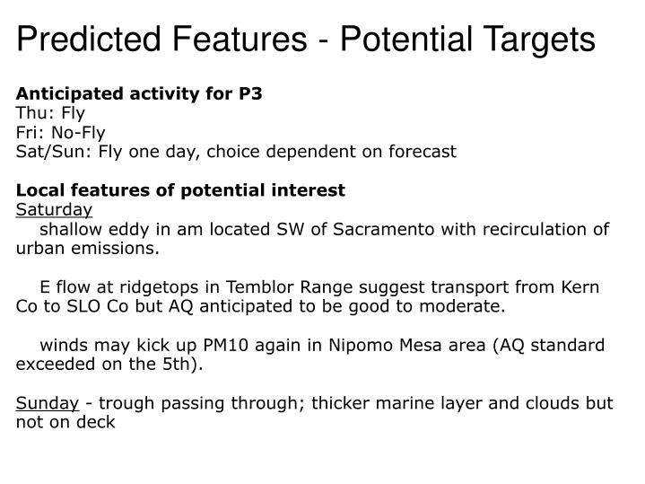 Predicted features potential targets