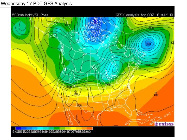 Wednesday 17 PDT GFS Analysis