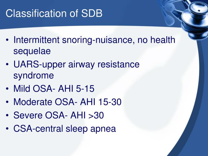 Classification of SDB