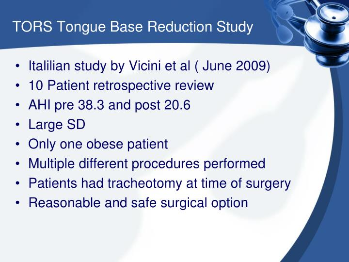 TORS Tongue Base Reduction Study