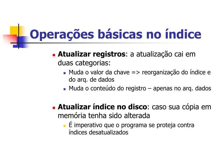 Operações básicas no índice
