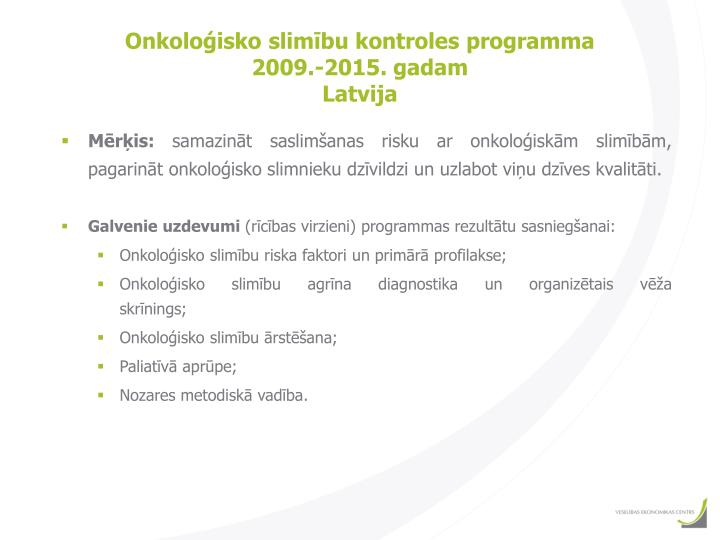Onkoloģisko slimību kontroles programma