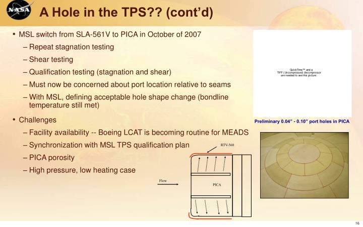 A Hole in the TPS?? (cont'd)