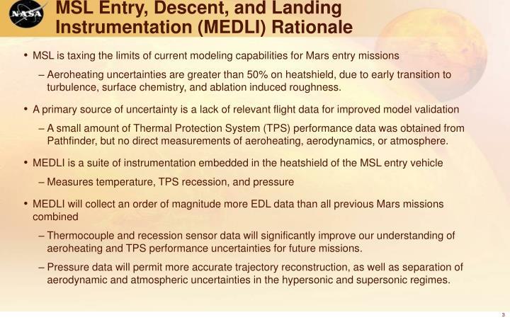 MSL Entry, Descent, and Landing Instrumentation (MEDLI) Rationale