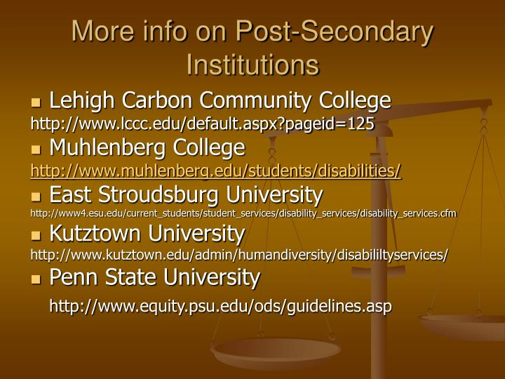 More info on Post-Secondary Institutions