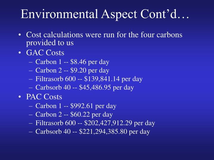 Environmental Aspect Cont'd…