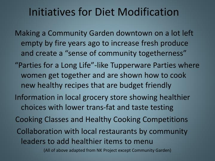Initiatives for Diet Modification
