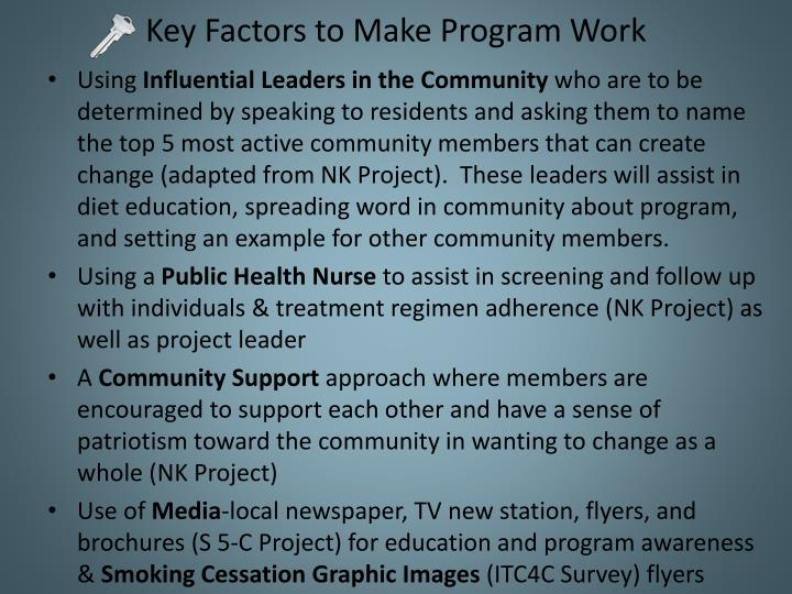 Key Factors to Make Program Work
