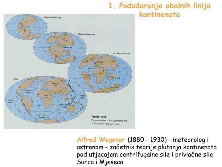 1. Podudaranje obalnih linija kontinenata
