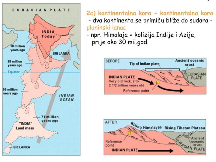 2c) kontinentalna kora - kontinentalna kora