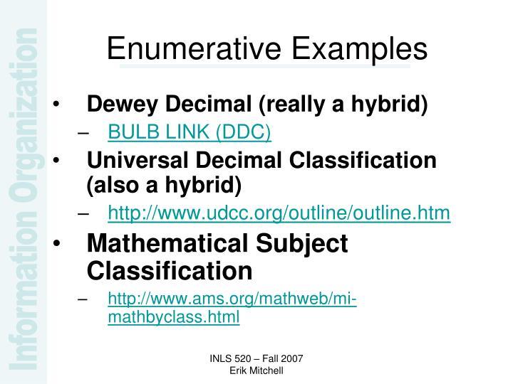 Enumerative Examples