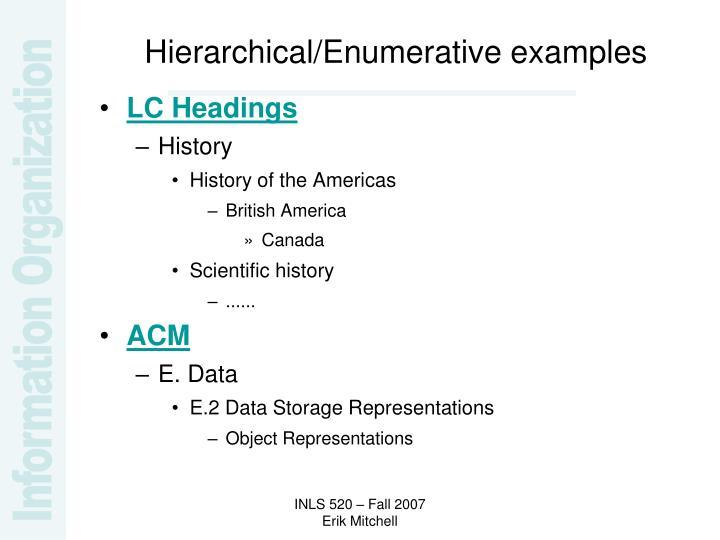 Hierarchical/Enumerative examples