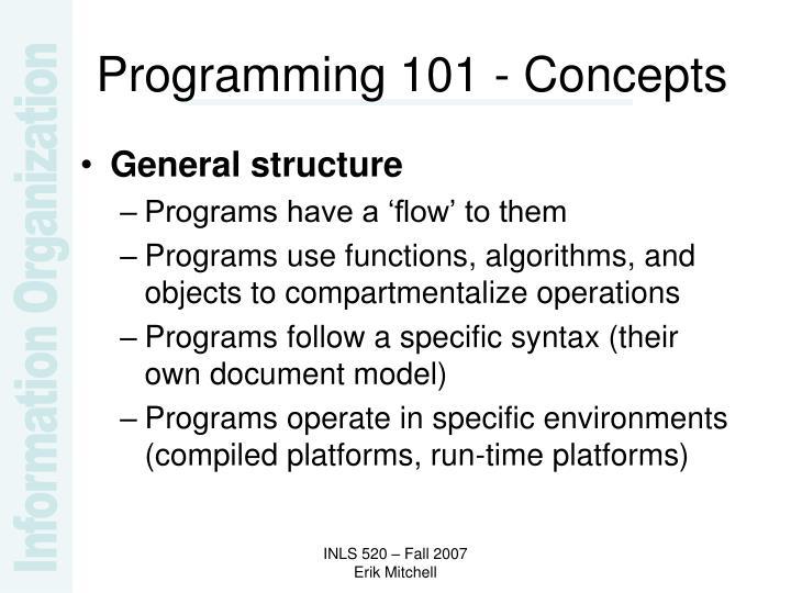 Programming 101 - Concepts