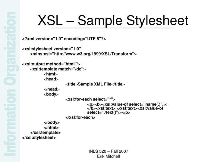 XSL – Sample Stylesheet