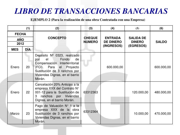 LIBRO DE TRANSACCIONES BANCARIAS