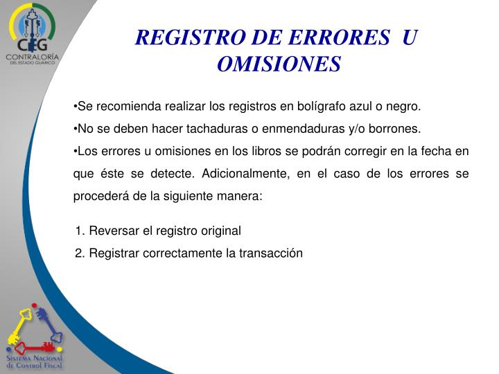REGISTRO DE ERRORES  U