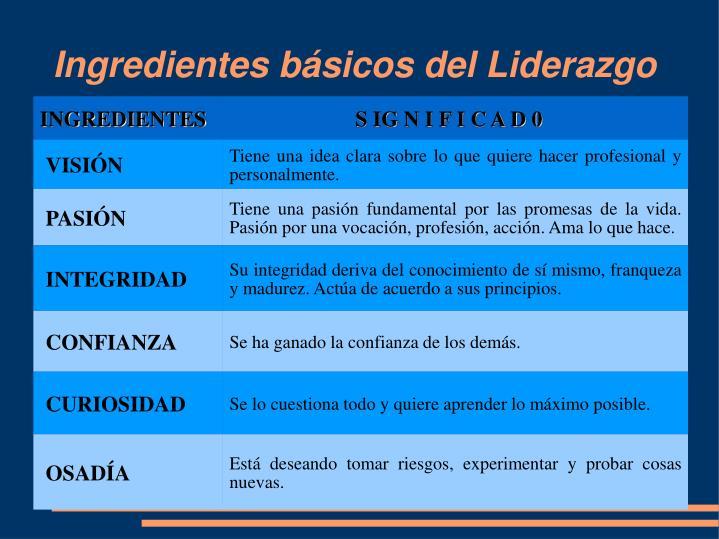 Ingredientes básicos del Liderazgo