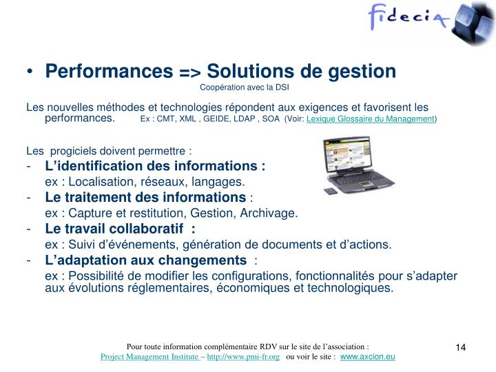 Performances => Solutions de gestion