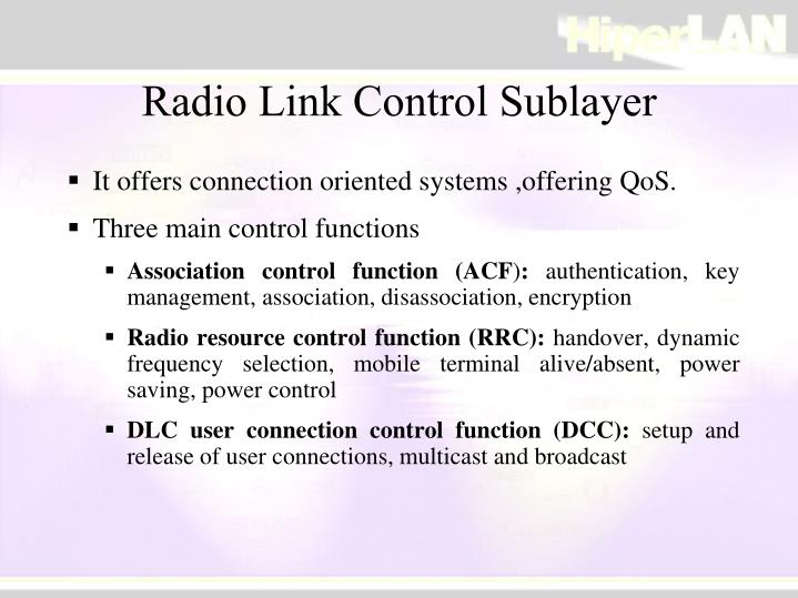 Radio Link Control Sublayer