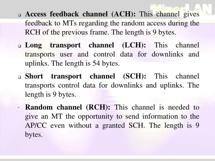 Access feedback channel (ACH):