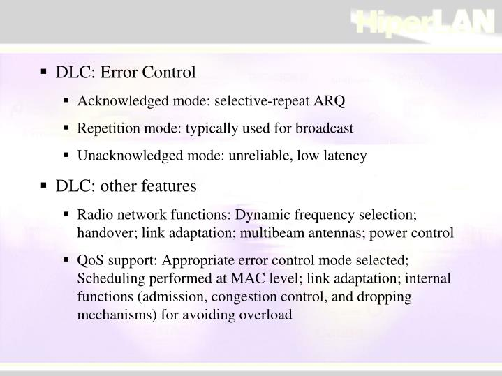 DLC: Error Control