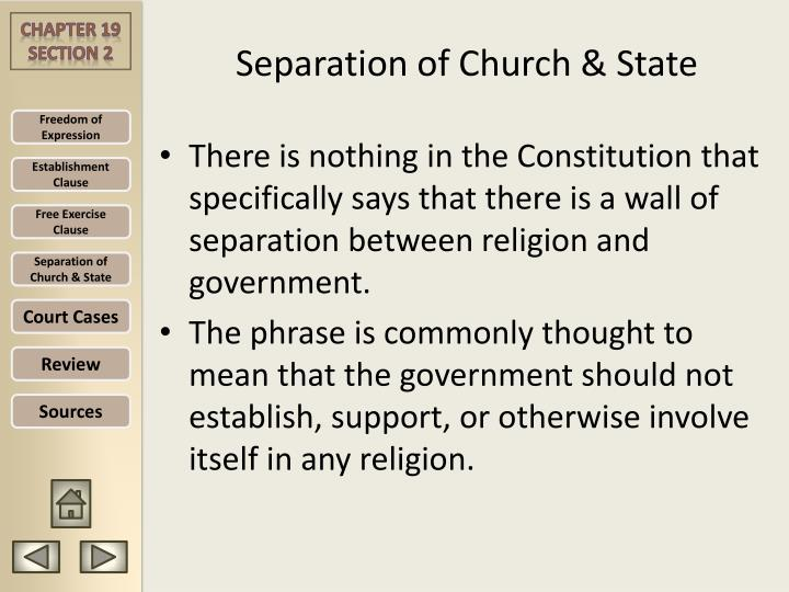 a review of the establishment clause and the separation of church and state Religious worship and the establishment clause 2 abstract this article addresses an issue within a community in the new york city area, between the bronx house of faith (bhof) and the board of education of the city of new york (benyc), which was the subject of a court case relating to the us constitutional law of the separation of church and state.