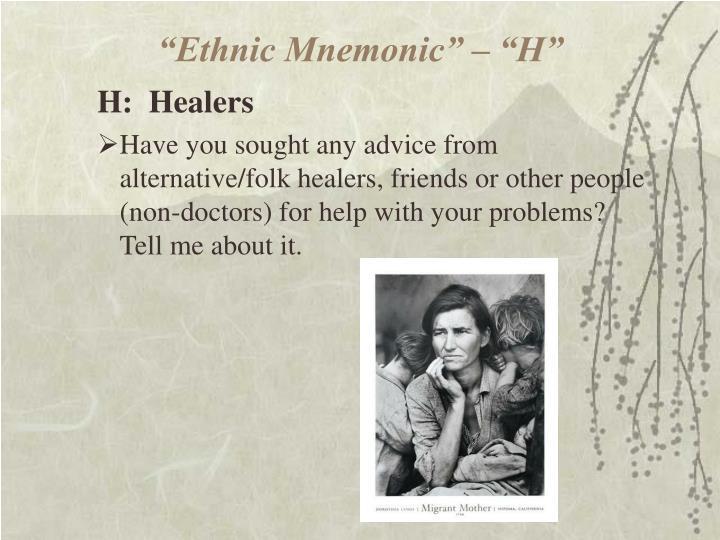 """Ethnic Mnemonic"" – ""H"""