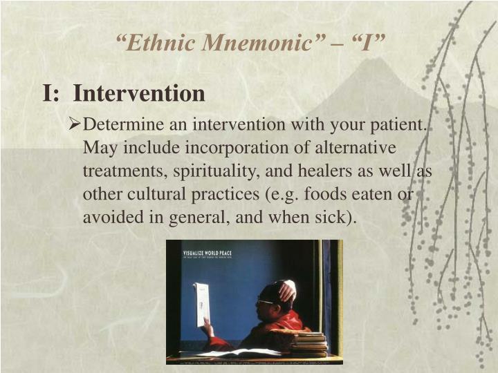 """""""Ethnic Mnemonic"""" – """"I"""""""