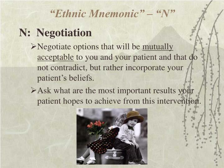 """Ethnic Mnemonic"" – ""N"""