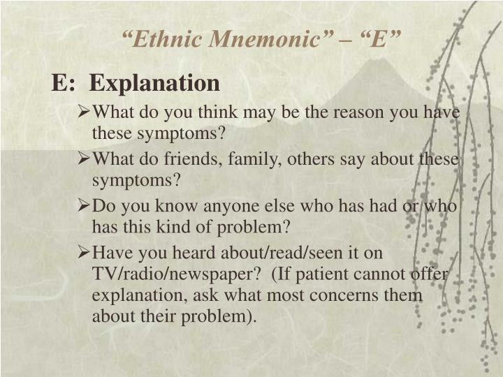 """""""Ethnic Mnemonic"""" – """"E"""""""