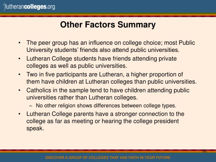 Other Factors Summary