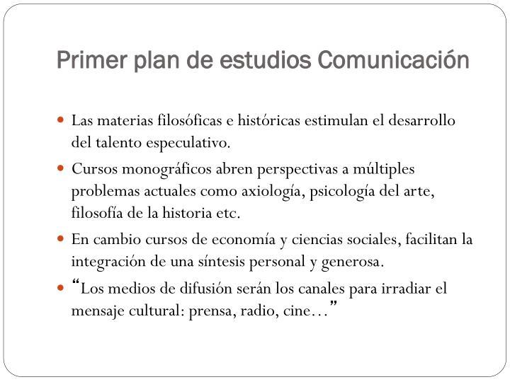 Primer plan de estudios Comunicación