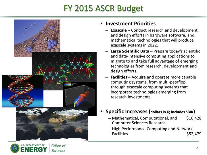 FY 2015 ASCR Budget