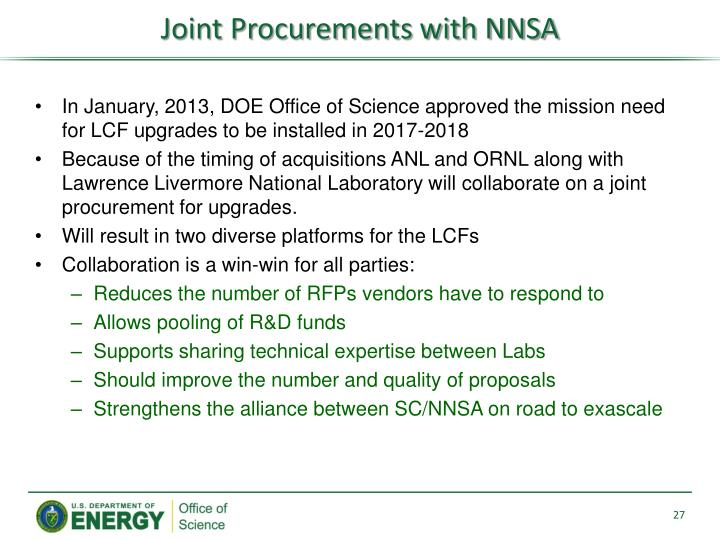 Joint Procurements with NNSA