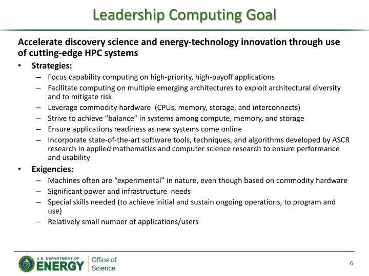 Leadership Computing Goal