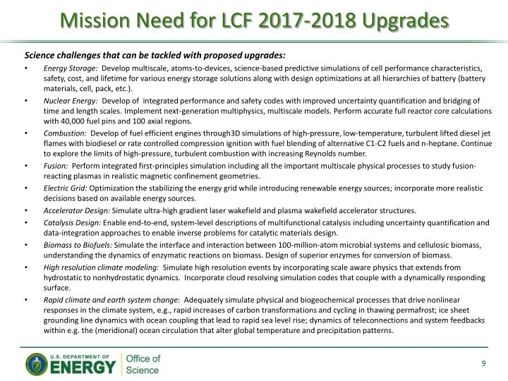 Mission Need for LCF 2017-2018 Upgrades