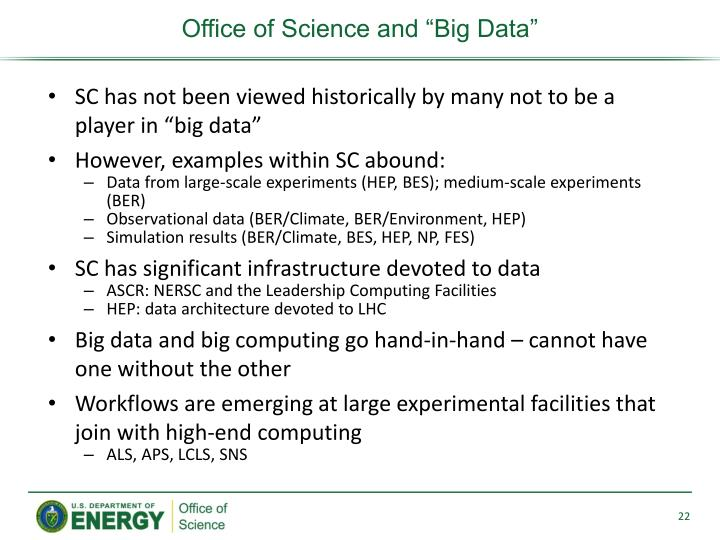 "Office of Science and ""Big Data"""