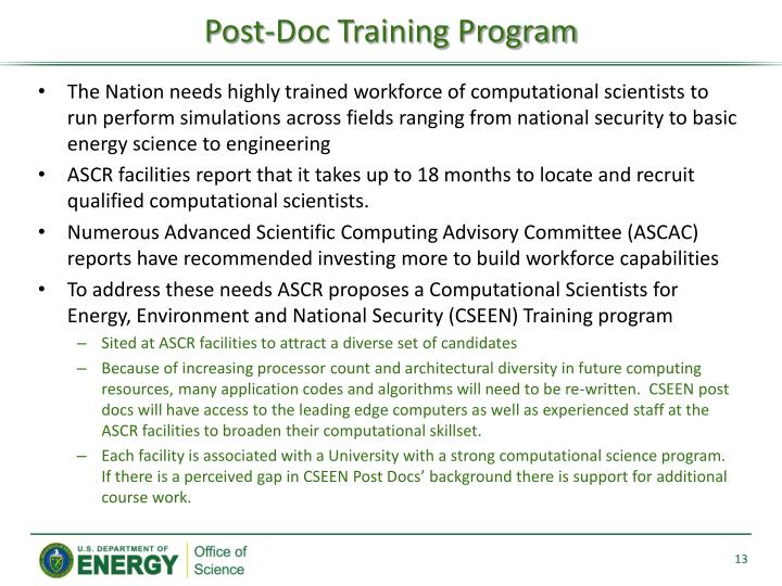 Post-Doc Training Program