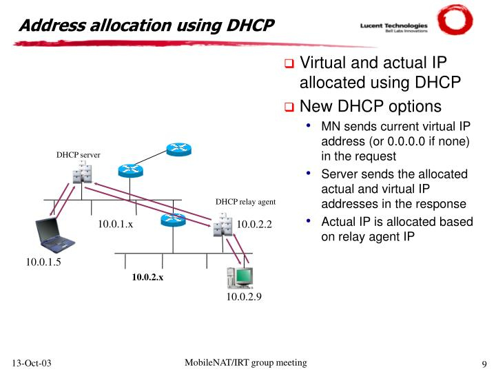 Address allocation using DHCP