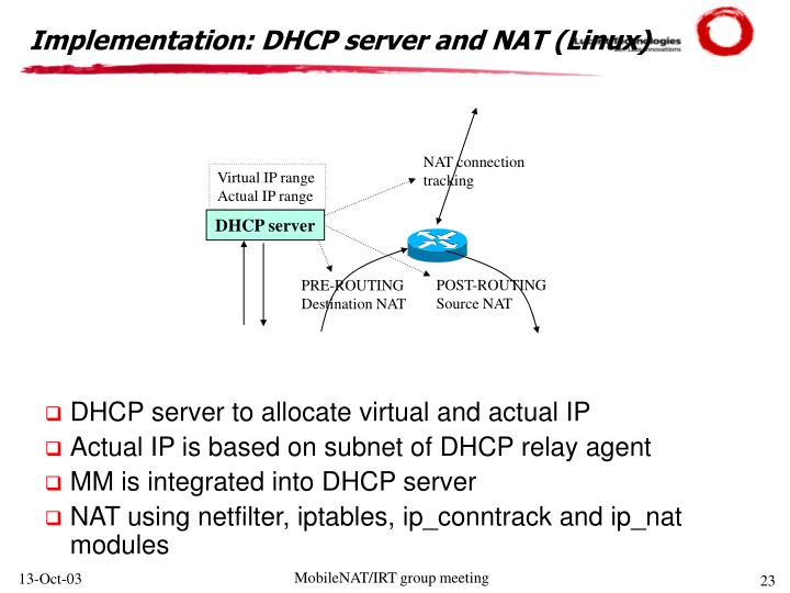 Implementation: DHCP server and NAT (Linux)