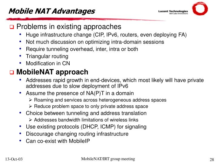 Mobile NAT Advantages