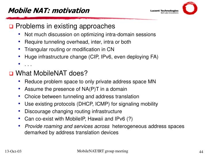 Mobile NAT: motivation