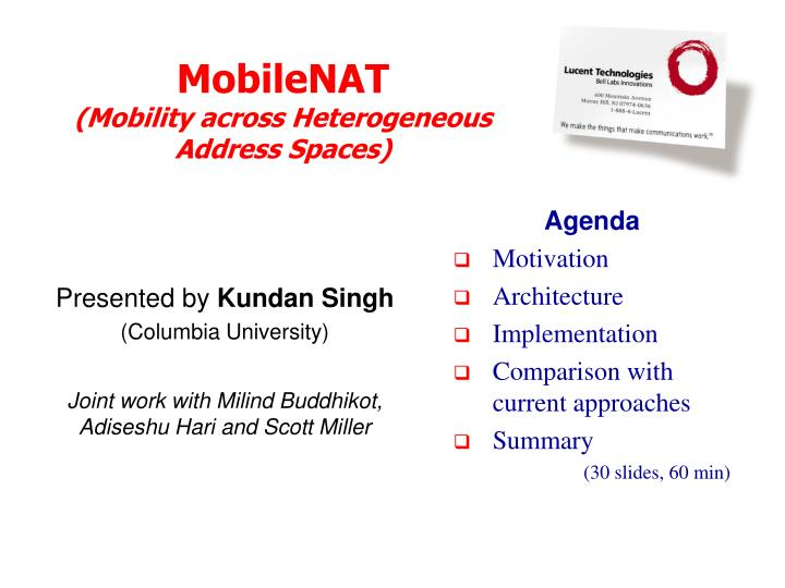 Mobilenat mobility across heterogeneous address spaces