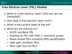 free electron laser fel studies