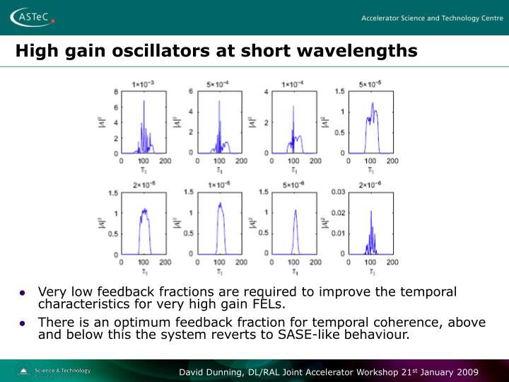 High gain oscillators at short wavelengths