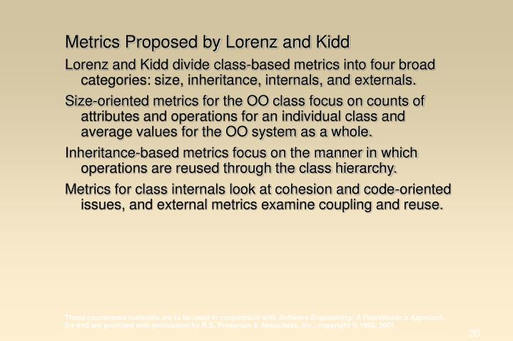 Metrics Proposed by Lorenz and Kidd